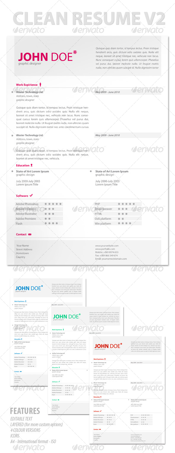 Modern & Clean Resume V2 - Resumes Stationery
