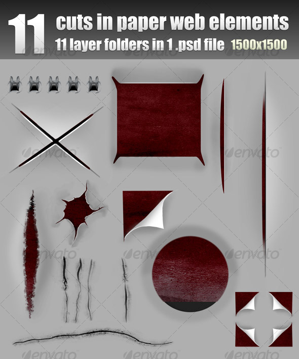 GraphicRiver Cuts Holes Scratches in Paper Layered 112527