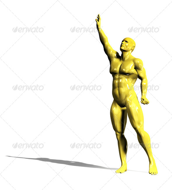Gold hero man statue in victory pose - Stock Photo - Images
