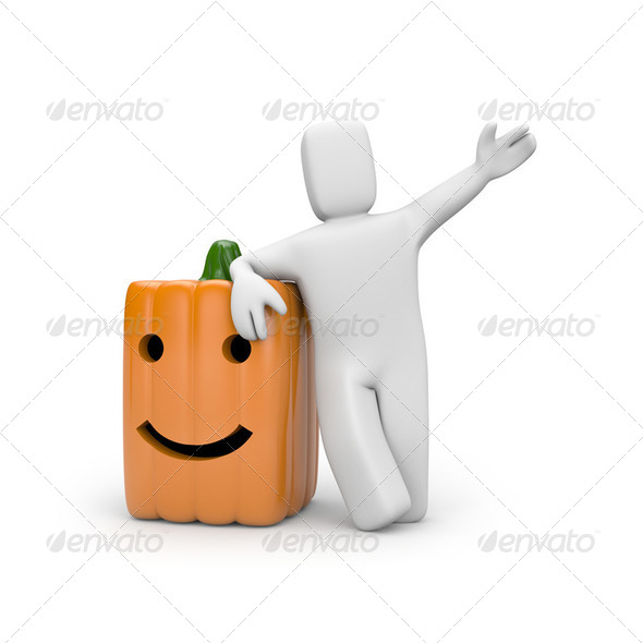 Person with pumpkin - Stock Photo - Images