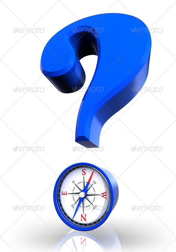 questionmark and compass blue symbol - Stock Photo - Images