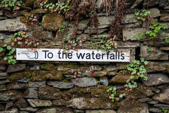 Sign to the waterfalls - Stock Photo - Images