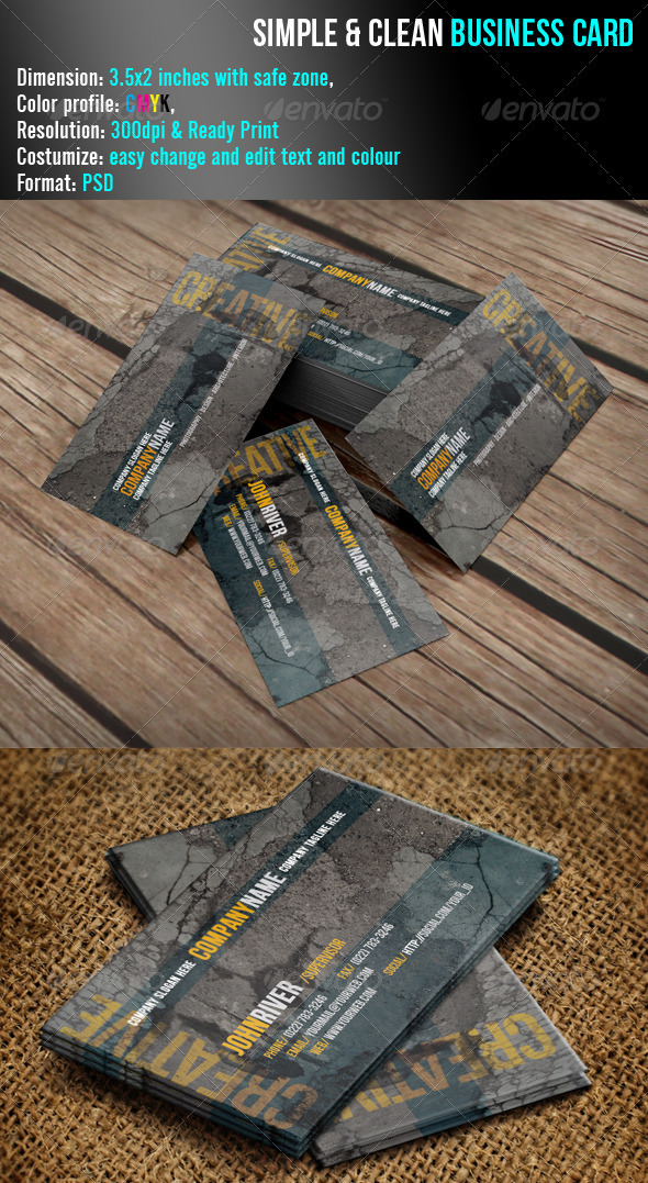 Easimple & Clean Business Card - Grunge Business Cards
