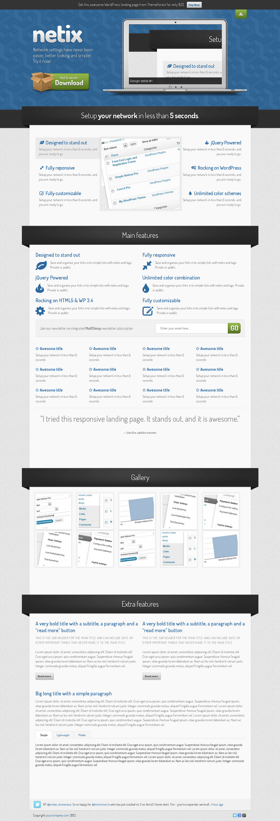 Netix - Responsive WordPress Landing Page - Netix WordPress Landing Page - default color scheme (blue)