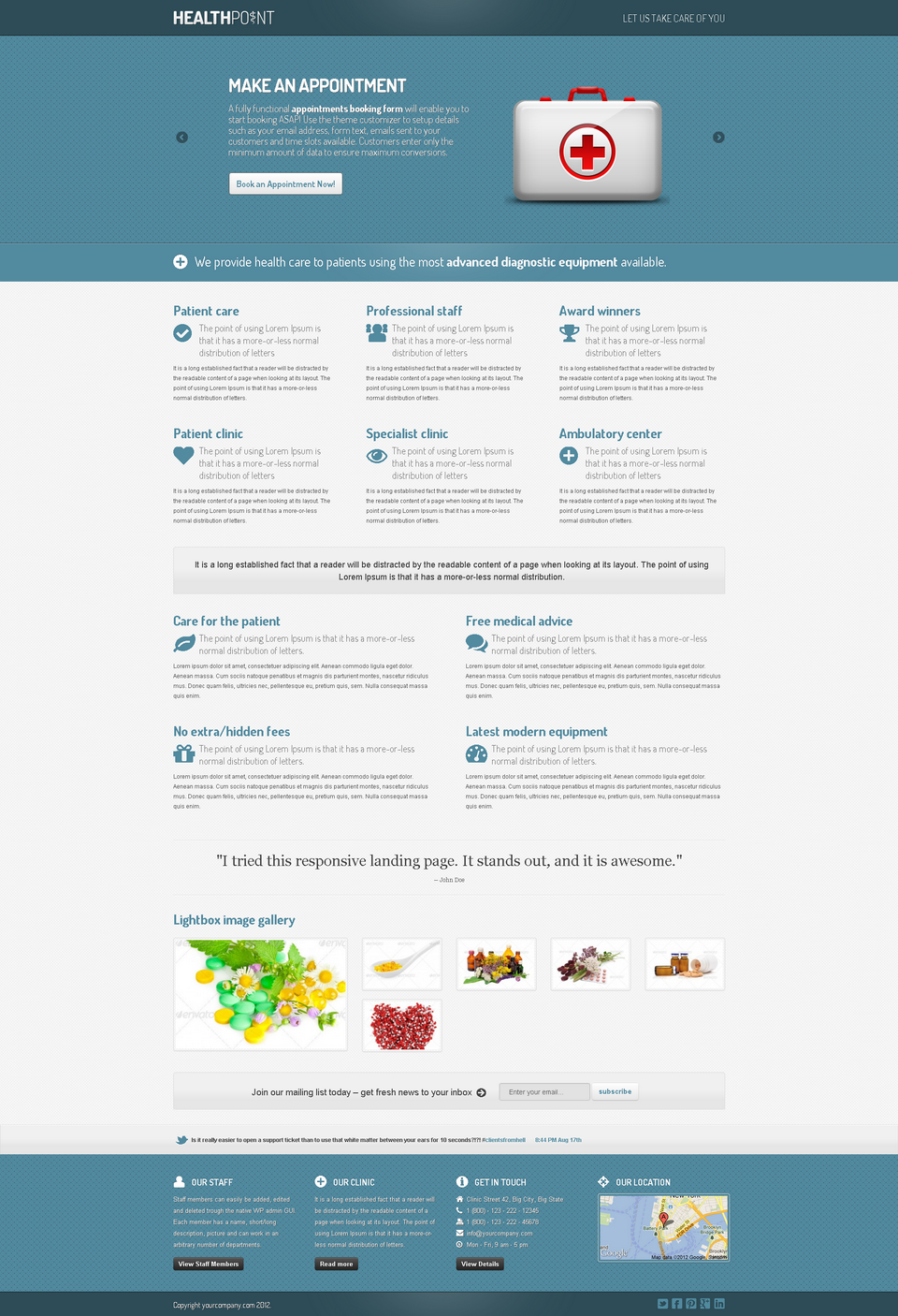 Health Point - Responsive WordPress Landing Page - Health Point - Blue theme with Parallax slider