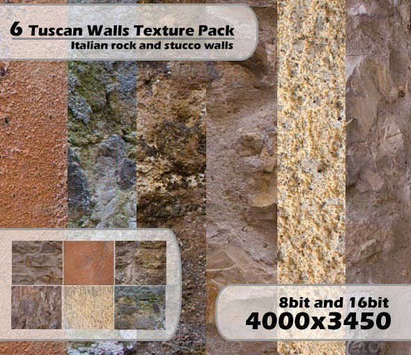 Rustic Tuscan Wall 6 Pack - Stone Textures