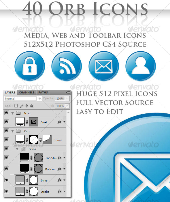 40 High Quality Photoshop Icons