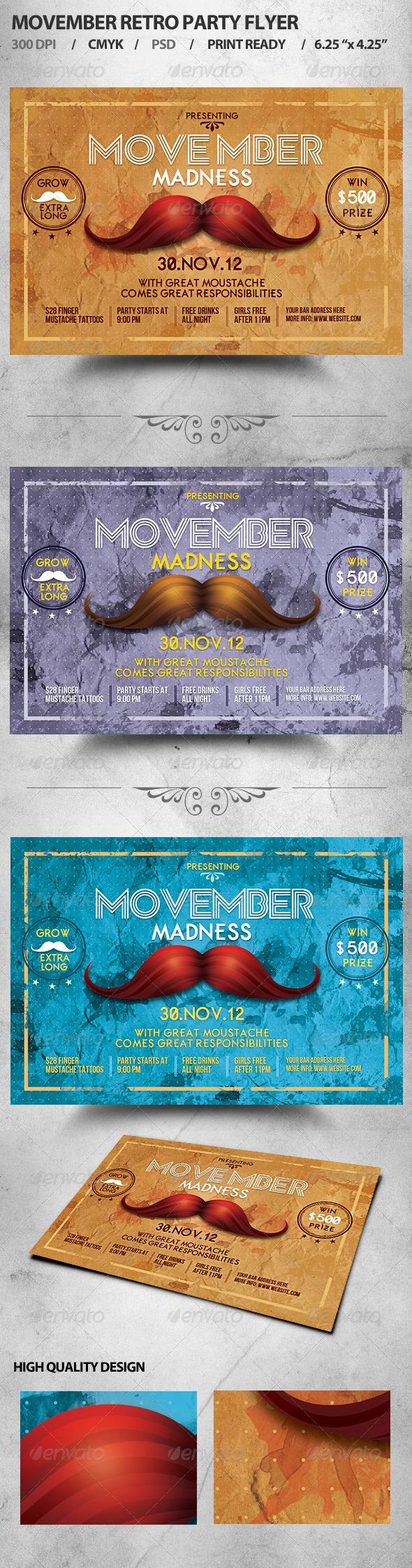 GraphicRiver Retro Movember Party Flyer 3258630