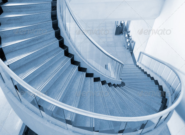 Blue spiral Stairs - Stock Photo - Images