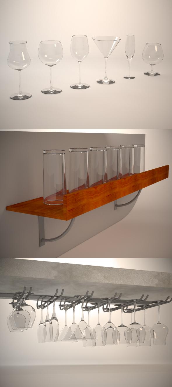 3DOcean Glasses shelf and glass holder 114779