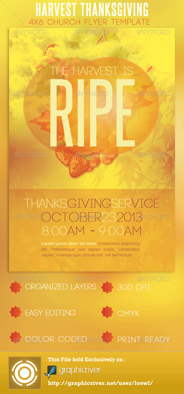 Church Harvest Thanksgiving Service Flyer - Church Flyers