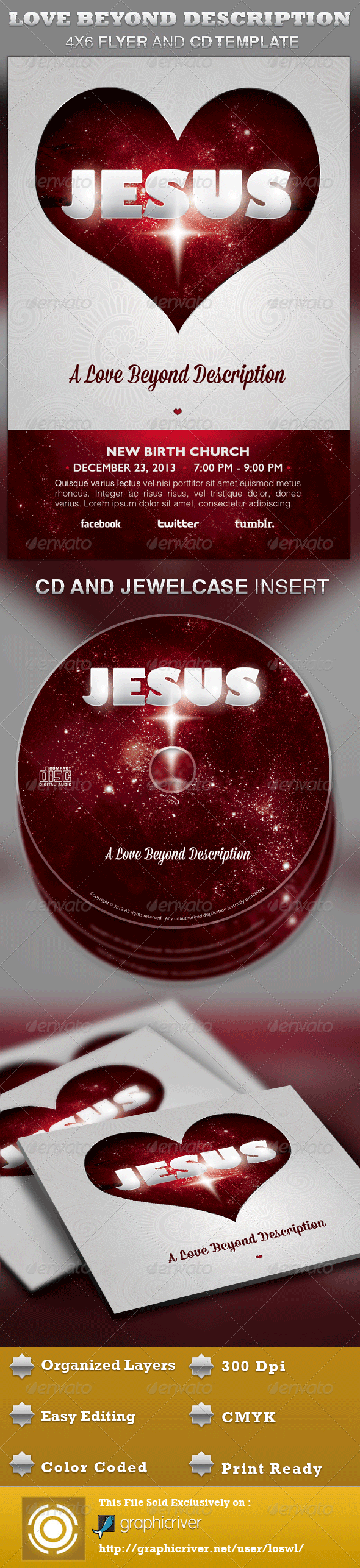 A Love Beyond Description Church Flyer and CD - Church Flyers