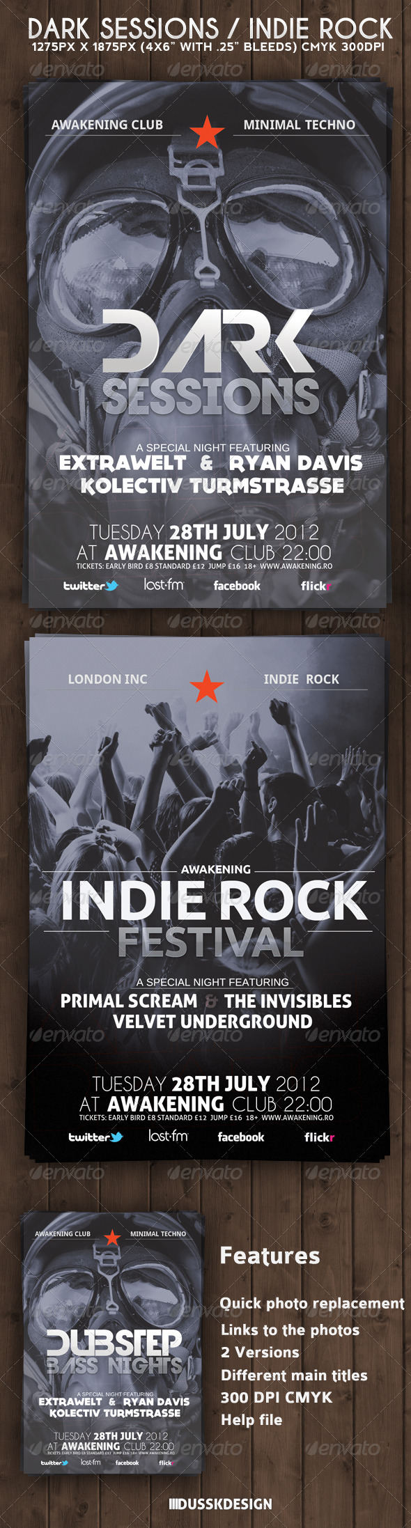 GraphicRiver Dark Sessions Indie Rock Flyer 3261145