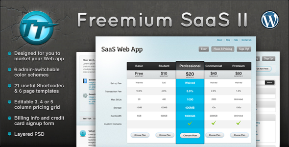 Freemium SaaS Wordpress CMS + Blog Theme II