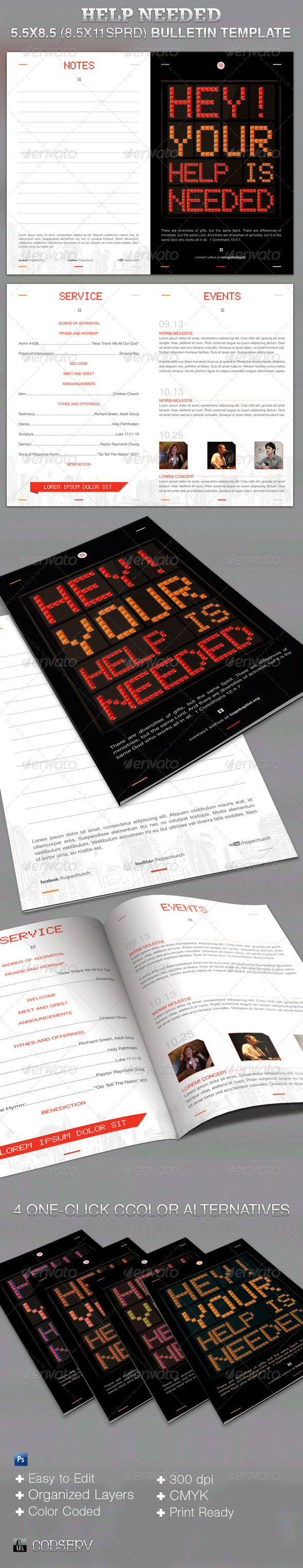 GraphicRiver Help Needed Church Bulletin Template 3262208