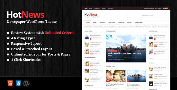 HotNews - Newspaper WordPress Theme