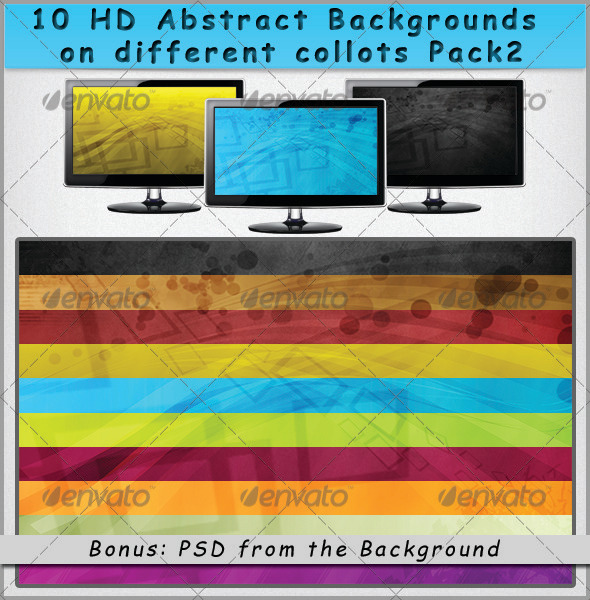 GraphicRiver 10 HD Abstract Backgrounds on Different Colors Pack 2 3262219