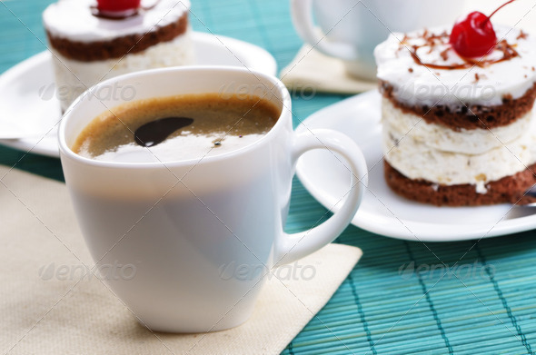 Cake and coffee cup - Stock Photo - Images