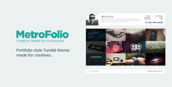 MetroFolio - Clean Portfolio Style Tumblr Theme - ThemeForest Item for Sale