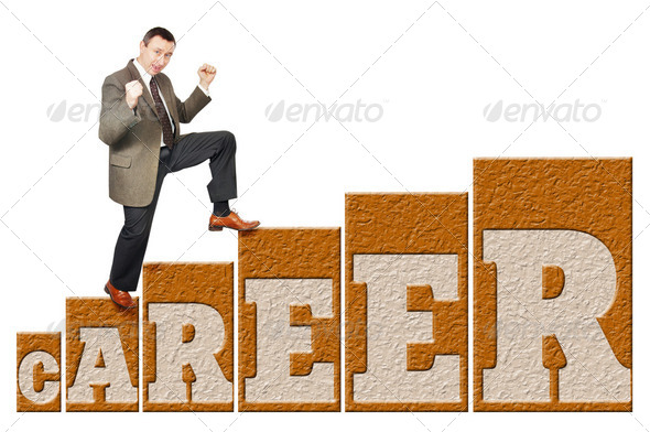 Man climbs up on a career ladder - Stock Photo - Images