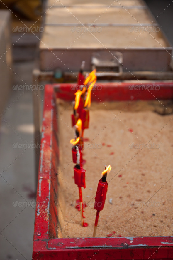 candle tray in the temple - Stock Photo - Images