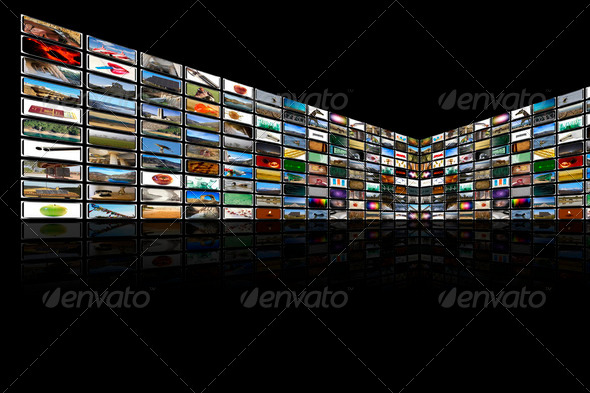 Media Room in black and reflection - Stock Photo - Images