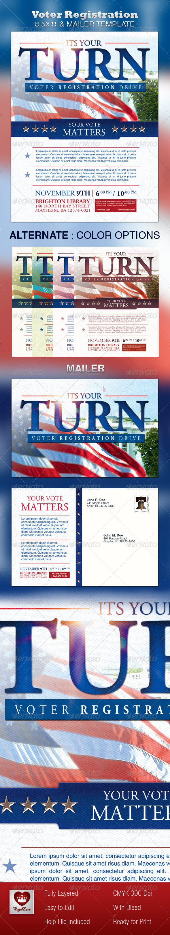 Voter Registration 8.5x11 & Mailer - Events Flyers