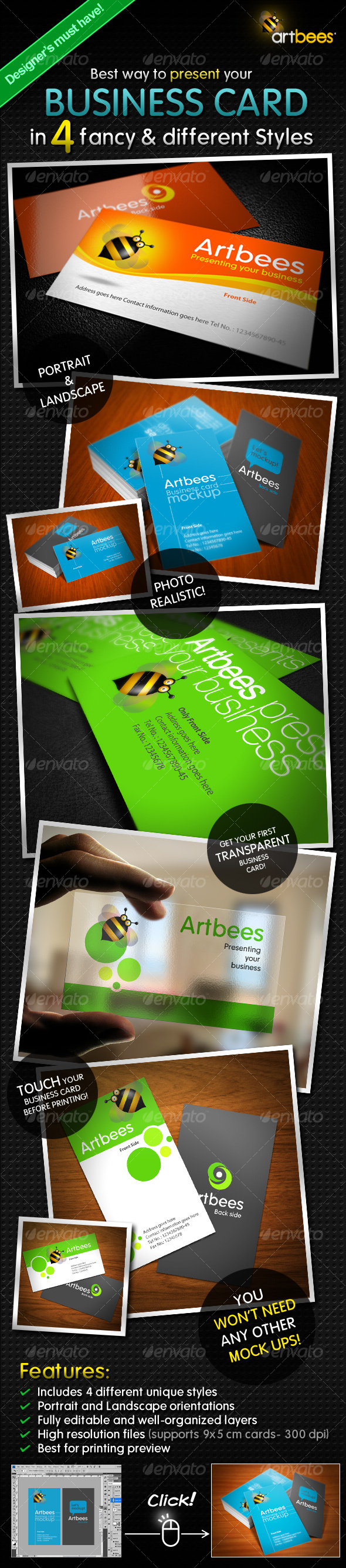 Great Business Card Mock-up Pack 4 Styles