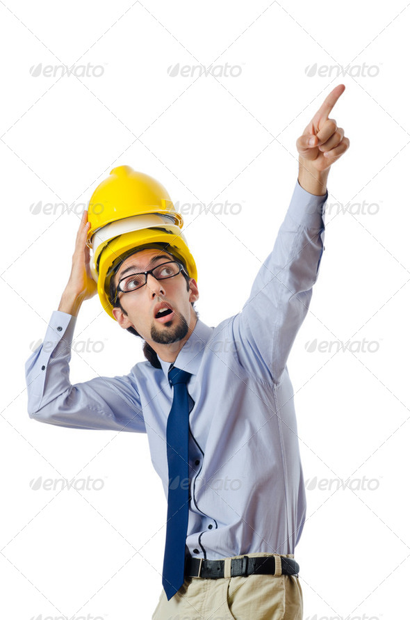 Construction safety concept with builder - Stock Photo - Images