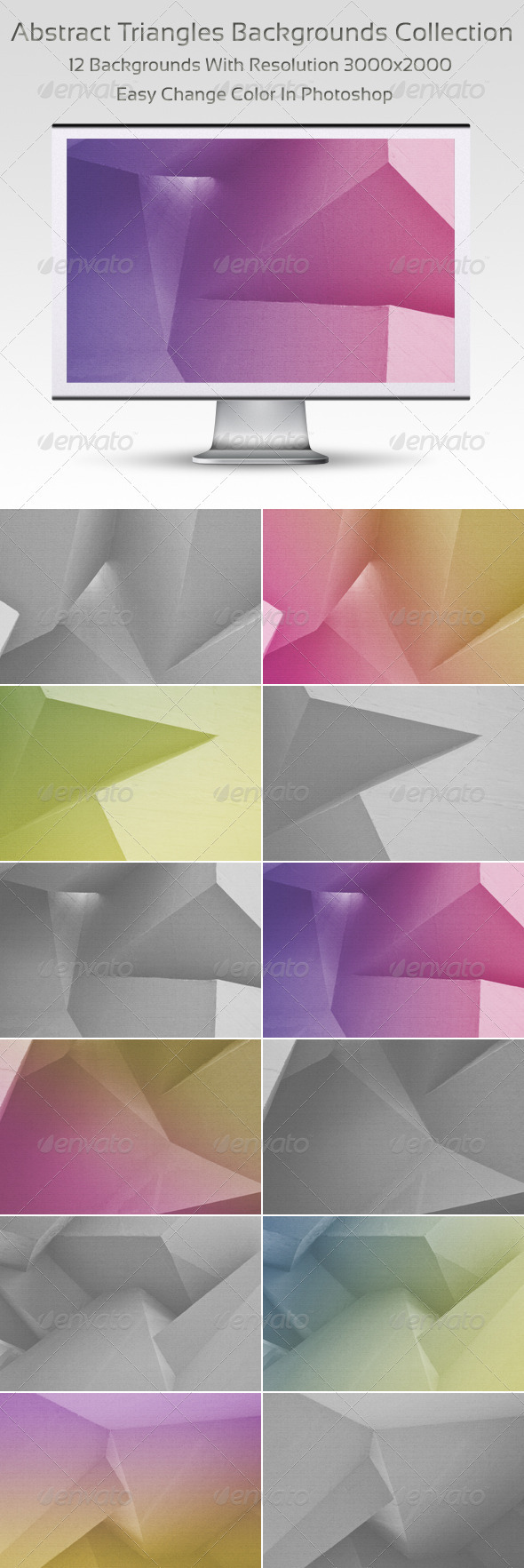 Abstract Triangles Backgrounds Collection - Backgrounds Graphics