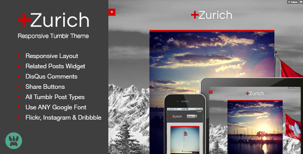 Zurich Responsive Tumblr Theme - ThemeForest Item for Sale