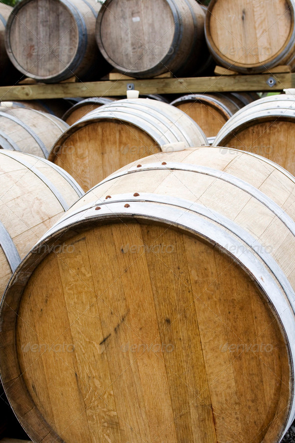 Wooden wine barrels - Stock Photo - Images