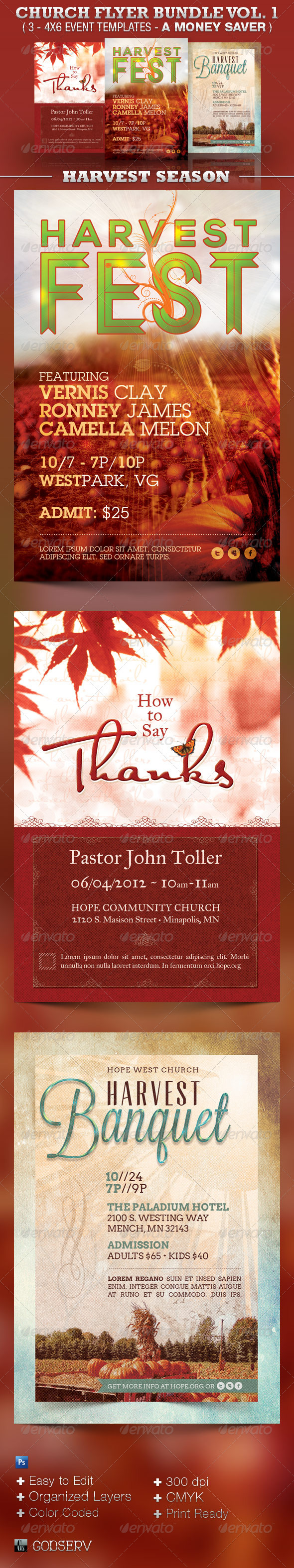 Church Flyer Template Bundle Vol 1 - Harvest - Church Flyers