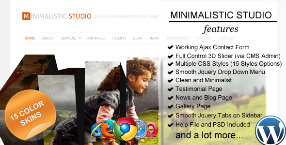 ThemeForest Minimalistic Studio Premium Wordpress Theme 108432