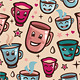 Vector seamless pattern with tea cups  - GraphicRiver Item for Sale