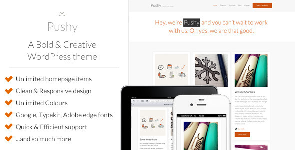 ThemeForest Pushy A Bold & Creative Marketing WP theme 3243859