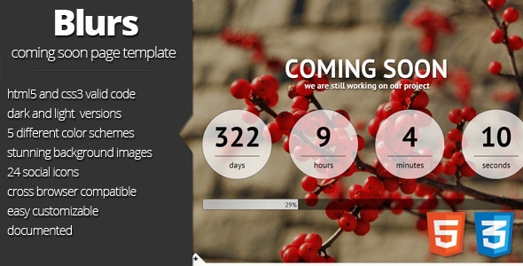 ThemeForest Blurs coming soon template 3225705
