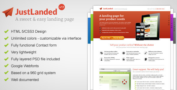 ThemeForest JustLanded Landing Page 3187737