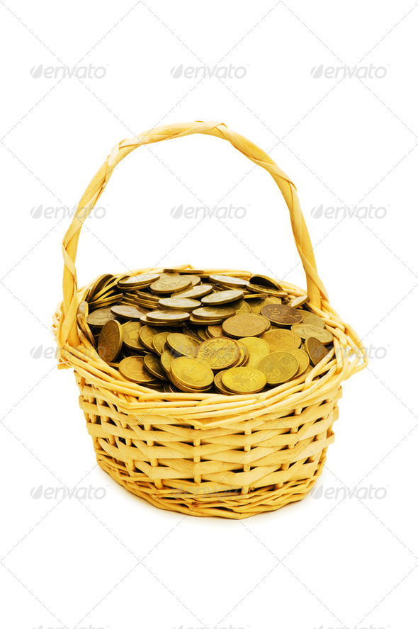 Basket full of coins isolated on white - Stock Photo - Images