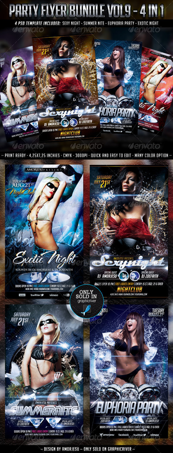 Party Flyer Bundle Vol9 - 4 in 1 - Events Flyers