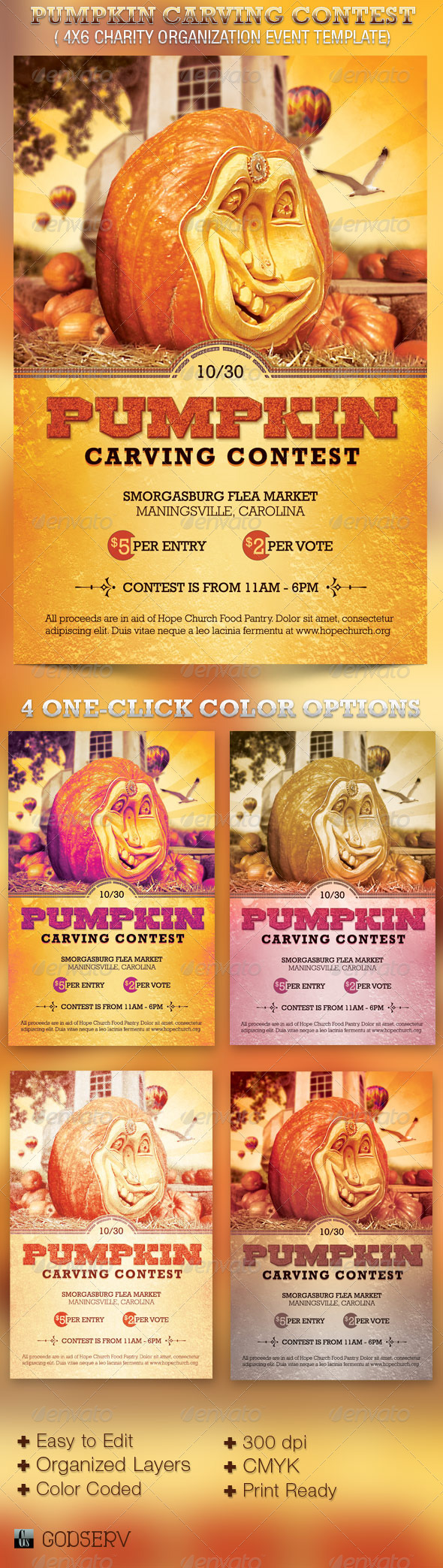 Pumpkin Carving Contest Charity Flyer Template - Church Flyers