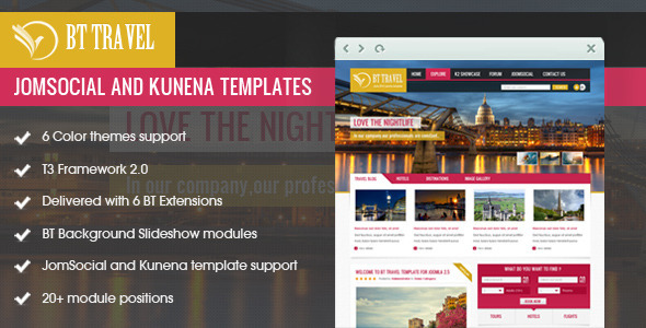ThemeForest BT Travel Jomsocial and Kunena Template 3044869