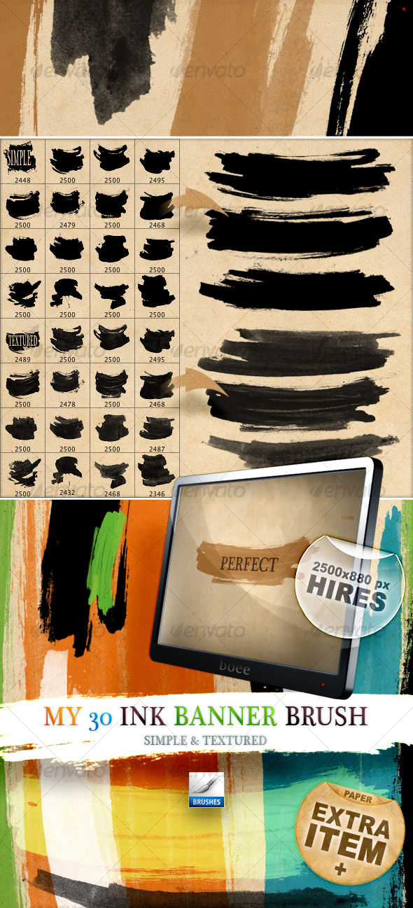 My 30 lnk Banner Brush – Simple & Textured - Artistic Brushes