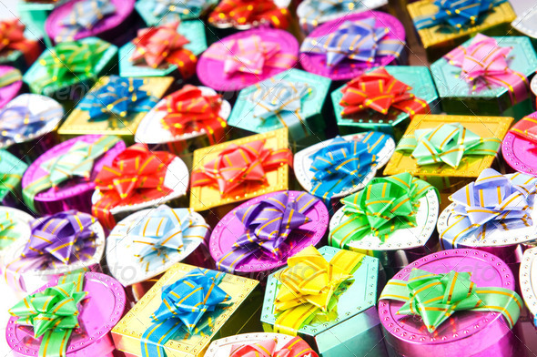 Many colourful gift boxes - Stock Photo - Images