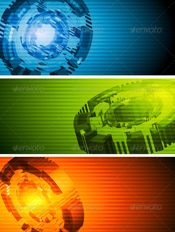 Abstract hi-tech vector banners - Technology Conceptual