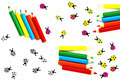 Multicolored crayons and ladybirds composition - PhotoDune Item for Sale