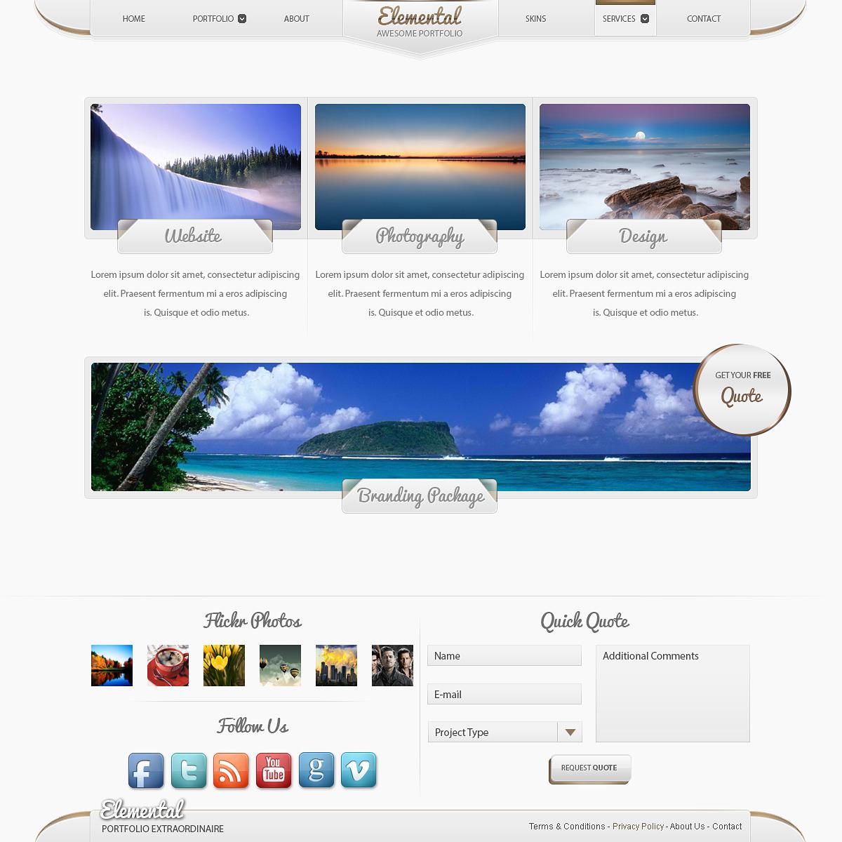 Elemental - Modern Portfolio PSD Template