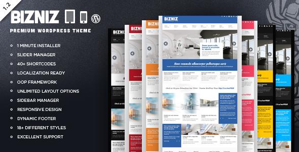 ThemeForest Bizniz Responsive Business WordPress Theme 2341316