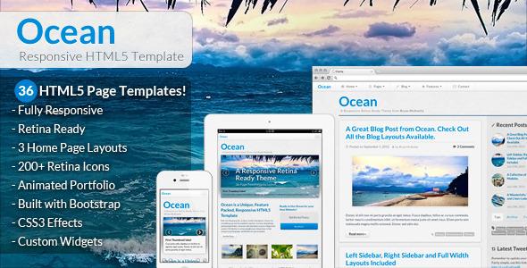 ThemeForest Ocean Responsive HTML5 Template 3235241