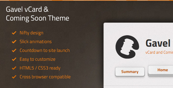 Gavel vCard & Coming Soon Theme